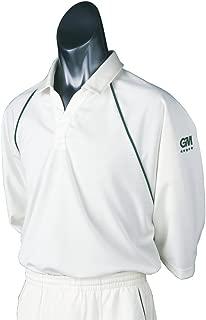 5 Teknik 3/4 Sleeve Cricket Shirt, Green Trim, Large