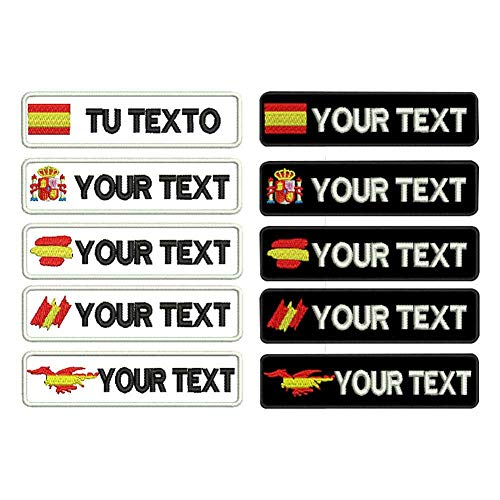 Parche bordado con etiqueta de nombre militar personalizado, bandera de España verde militar personalizada con gancho de hierro en el respaldo A + B +