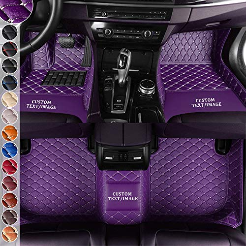 changlaiwang Customize Car Floor Mat for Ford Edge F150 Fusion Galaxy Kuga Mustang GT500 Shelby GT-SVT Ranger Taurus Territory Mats Floor Carpet Liner Rug All Weather Luxury Leather Full Set Purple