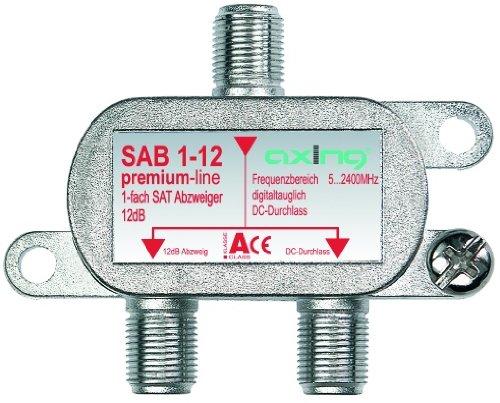 Axing SAB 1-12Derivatore satellitare e tv digitale terrestre 1uscita derivata con attenuazione 12 dB (5-2200MHz) con passagio DC
