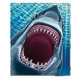 Dawhud Direct Super Soft Full/Queen Size Plush Fleece Blanket, 75' x 90' (Great White Shark)