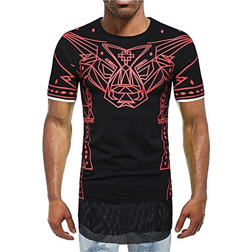 Streetwear Hombres Personalidad Verano Cuello Redondo Manga Corta Hombres T-Shirt Elástico Diseño Impresión Moda Hombres Shirt Tendencia Moderna Frescos Hombres Shirt Ocio D-Black2 XL