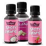 GymQueen Tasty Drops 3x30ml - Kalorienfreie, Zuckerfreie und Fettfreie Flavour Drops - Aroma Tropfen zum...
