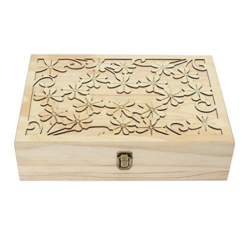 MJJEsports 70 Slots Houten Gesneden Case Container Essentiële Oliën Box Opslag