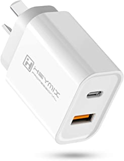 HEYMIX 20W Fast Charger, Dual Port USB C PD Wall Charger (AU Plug Compatible with iPhone 12, iPad Pro Air, iPhone 11, iPho...