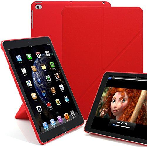KHOMO Funda para iPad de 9,7 Pulgadas (2017 y 2018) - Serie Dual Origami - Pantalla Horizontal y Vertical - Rojo