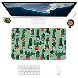 HUBNYO CactusLeather - Alfombrilla de escritorio de oficina para ratón, superficie lisa, fácil de limpiar, resistente al agua, protector de escritorio para oficina o juegos en casa
