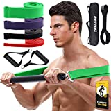 TESLANG Resistance Band Bar, 4 Resistance Bands with Bar for Men Women, 300 LBS Strength Training...
