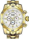 SRB Relojes para hombres Banda de acero inoxidable a prueba de agua 3 Atm 270G Reloj de cuarzo Reloj de pulsera analógico multifuncional resistente Festival Regalo T026G-1 (Color: oro-blanco),Oro-B