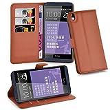 Cadorabo Hülle für HTC Desire 816 - Hülle in Schoko BRAUN – Handyhülle mit Kartenfach & Standfunktion - Hülle Cover Schutzhülle Etui Tasche Book Klapp Style