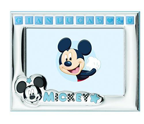 Disney - Cadre photo Mickey Mouse à poser - plaqué argent - personnalisable avec le nom du bébé - avec autocollants