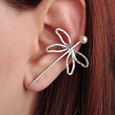 Boucle d'oreille grimpeur libellule en argent sterling 925, avec une perle, fait à la main par Emmanuela, manchette boucle d'oreille moderne, cadeau de bijoux insecte fée elf earcuff libellule