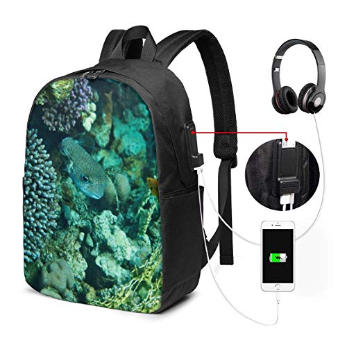 Eye Fashion Travel Backpacks for Men and Women, School Laptop Bookbags with USB Charging Port Fit 17 Inch