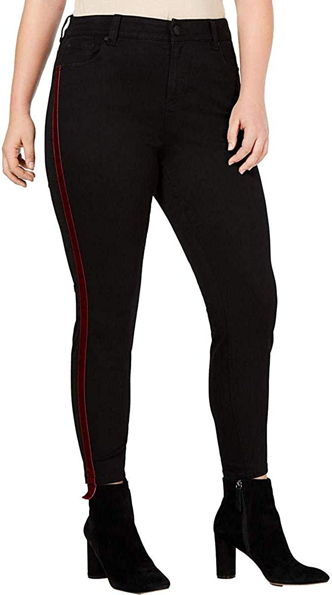 Celebrity Pink Womens Plus Varsity Stripe Denim Striped Ankle Jeans Black 16