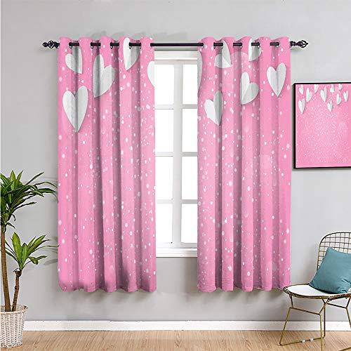 Cortina de ventana de color rosa y blanco, cortinas de 183 cm de largo estilo 3D corazones como alas de mariposa, amor mágico en el aire, protección de privacidad, rosa, gris pálido, 63 x 72 pulgadas