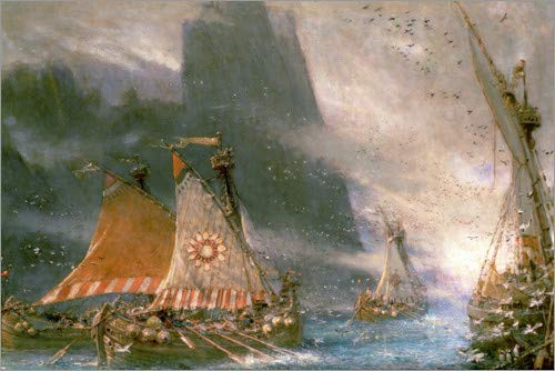 Póster 90 x 60 cm: The Viking Pirates de Albert Goodwin/Bridgeman Images - impresión artística, Nuevo póster artístico