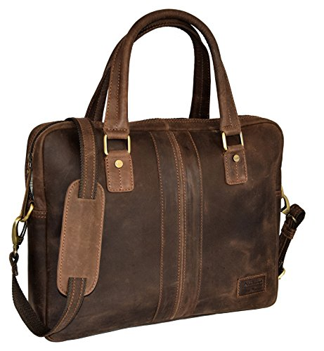 "MENZO Lederaccessoires ""Jesolo"" Buffalo Vintage Leder, Lederaktentasche, Umhängetasche, Messenger Bag, Businesstasche, Lehrertasche, Überschlagtasche, Notebooktasche (Marrone)"