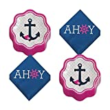 Nautical Girl Party Supplies - Pink and Navy Anchor Paper Dessert Plates and Ahoy Beverage Napkins (Serves 16)