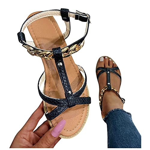 UULIKE Femme Plates Sandales Ete,Été Mode Loisirs Plateforme Chaîne Cuir Épissage Évider Chaussures,Bout Ouvert Confort Sandale compensée Chaussons Mules Chausson Traversé Antidérapantes 36-43