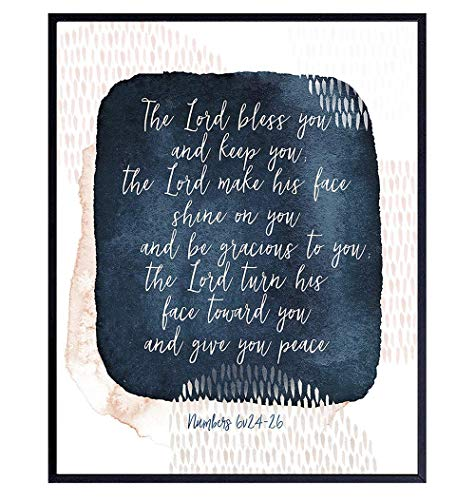 May The Lord Bless You and Keep You - Abstract Bible Verse Wall Art - Bible Study - Religious Wall Decor - Scripture Bible Verse Art -Christian Gifts for Men, Women - Blessed Wall Decor - God Decor