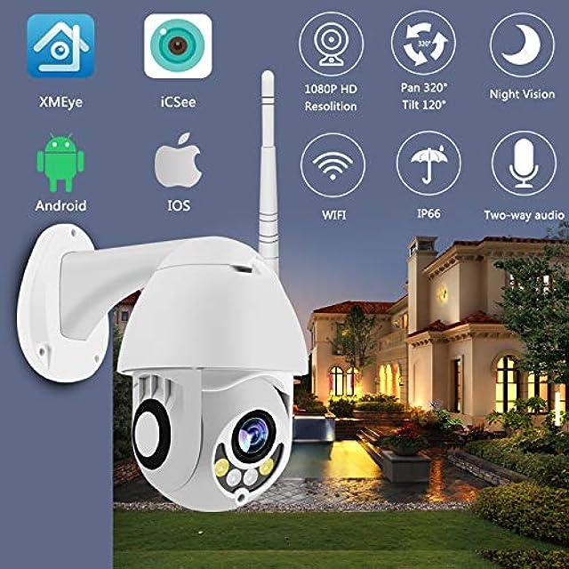 Cámara WiFi Cámara Ptz IP Al Aire Libre Cámara Domo De Velocidad De 1080p De Seguridad CCTV Exterior 2mp IR Vigilancia Doméstica Ip66 Detección De Movimiento A Prueba 1080P 12V2A Potencia 3.6mm