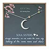 EFYTAL Best Friend Gifts, 925 Sterling Silver CZ Crescent Moon &...