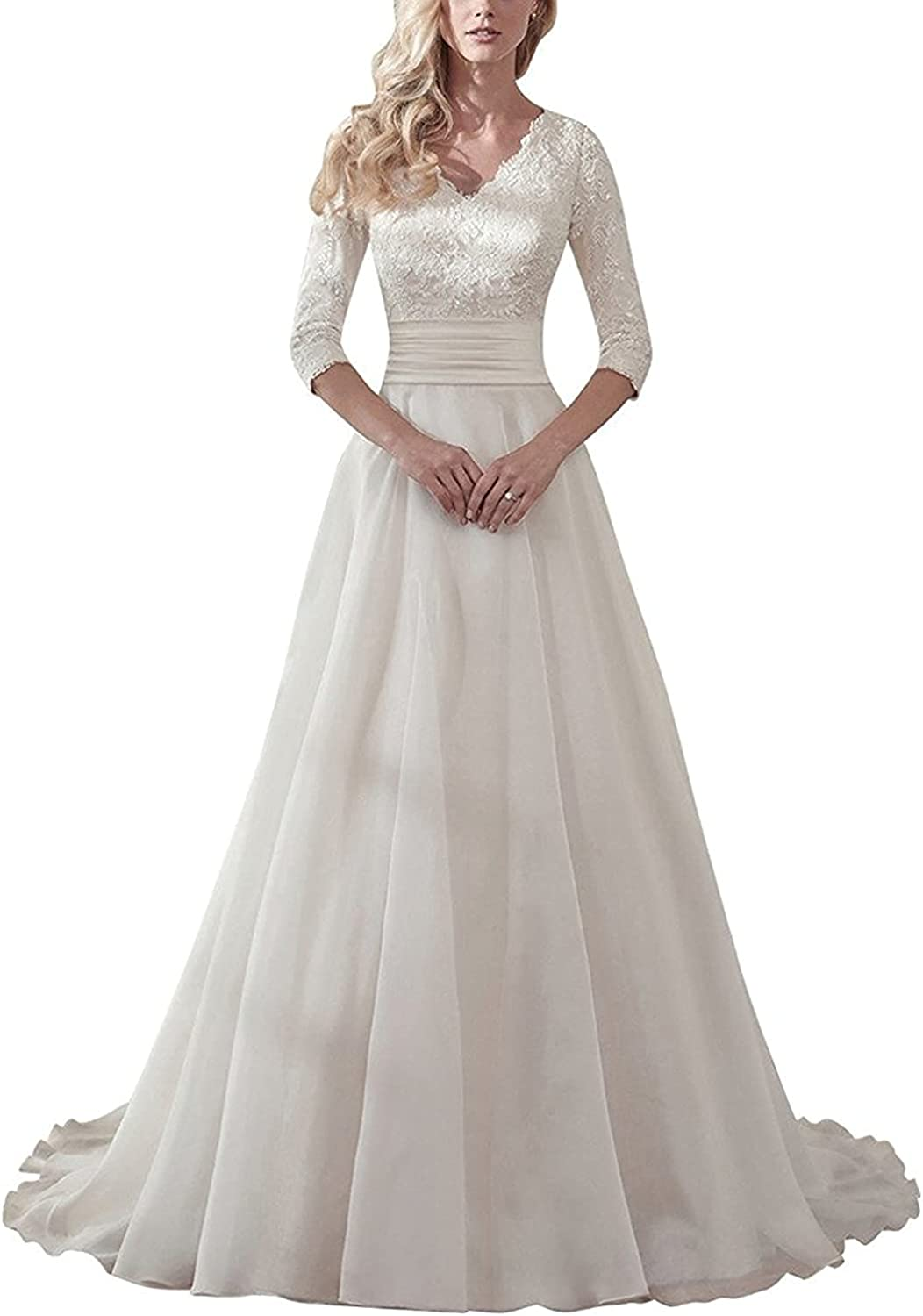 Denver Mall Lace Wedding Dress V Neck Aline Long New product type Gowns Bridal Dresses