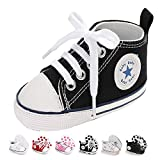 Newborn Baby Girls Boys Canvas Shoes Infant Soft Sole Slip On First Walkers Sneaker Toddler Flat Lazy Loafers High Top Crib Denim Unisex Moccasins Shoe (A/Black, 0-6 Months)
