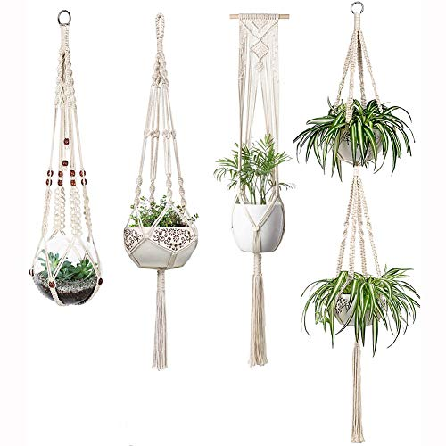 PASLWSSY Macrame Plant Hangers Set of 4 Indoor Wall Hanging Planter Basket Decorative Flower Pot Holder for Indoor Outdoor Home Decor Gift, Medium