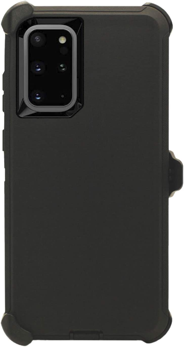 """WallSkiN Turtle Series Belt-Clip Holster Case for Galaxy Note 20 (6.7""""), 3-Layer Full Body Protective Defender Cover & Certified Shock, Drop, Dust Proof - Black/Black"""