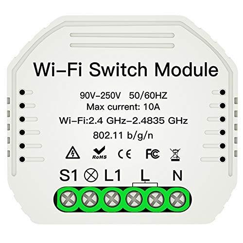 LIZANAN Herramientas Wi-Fi Inteligente Interruptor de la luz del Interruptor de Bricolaje Smart Module Vida/Tuya App Control Remoto, Compatible con Alexa Echo Inicio Medio Camino Cortacircuitos