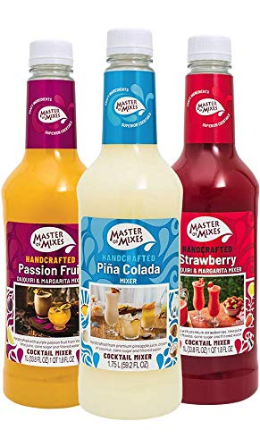 Master of Mixes Fruity Frozen FUNdamentals Variety Pack: Pina Colada, Strawberry Daiquiri, and Passion Fruit Daiquiri - Ready to Use, 1 Liter Bottles (33.8 Fl Oz), Pack of 3 Flavors