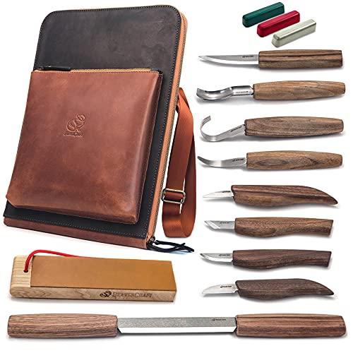 BeaverCraft Deluxe Wood Carving Kit S50X - Wood Carving Tools Wood Carving Set - Spoon Wood Carving Knives Tools Set - Whittling Kit Knife Woodworking Kit for Beginner and Profi (Brown)