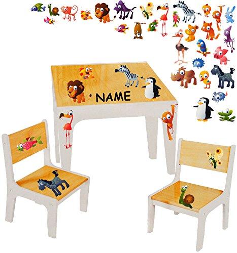 alles-meine.de GmbH 3 TLG. Set: Sitzgruppe / Sitzgarnitur für Kinder - sehr stabiles Holz -  lustige Zootiere  - incl. Name - Tisch + 2 Stühle / Kindermöbel für Jungen & Mädche..
