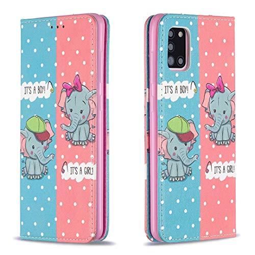 Miagon Brieftasche Hülle für Samsung Galaxy A31,Kreativ Gemalt Handytasche Case PU Leder Geldbörse mit Kartenfach Wallet Cover Klapphülle,Elefant