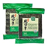 ONE ORGANIC Sushi Nori Premium Roasted Organic Seaweed (50 Full Sheets) - 2 Packs