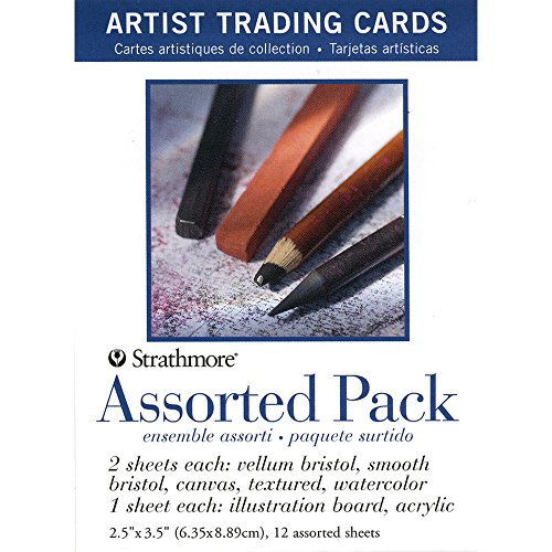 Strathmore 105-908 Artist Trading Cards, Assortment Pack, Natural White, 12 Sheets