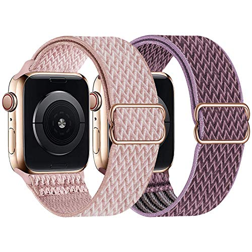 UHKZ 2 Pack Stretchy Solo Loop Compatible with Apple Watch Bands 38mm 40mm 42mm 44mm,Adjustable Braided Sport Elastic Nylon Wristband for iWatch Series 6/SE/5/4/3/2/1,Rose Pink/Smokey Mauve,38/40mm