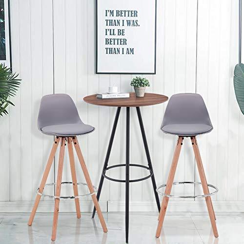 GOLDFAN Stehtisch mit 2 Barstühlen Banketttisch Kleiner Esstisch Kleiner runder Konferenztisch brauner Couchtisch runder Bistrotisch Balkontisch...