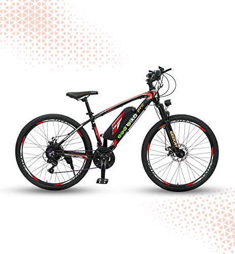 "Geekay Ecobike Electric bike Gear Cycle Red 26"" wheel mountain bike for Adults   Electric motor 36 volt 250 watt Bike with Light Horn   Mountain Alloy bikes 30-40 KM Riding Range Detachable Battery   Mobile Charging   Ecobike PRO   30-40 Km Riding Range (Red, 26"")"