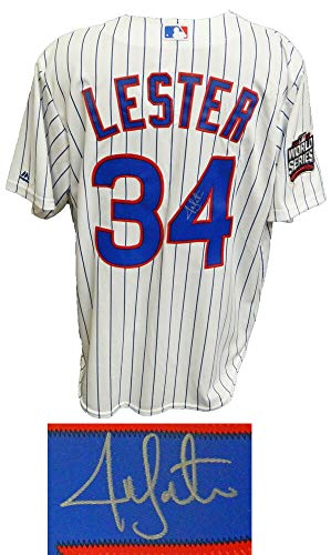 Jon Lester Signed Chicago Cubs White Pinstripe 2016 World Series Patch Majestic Jersey
