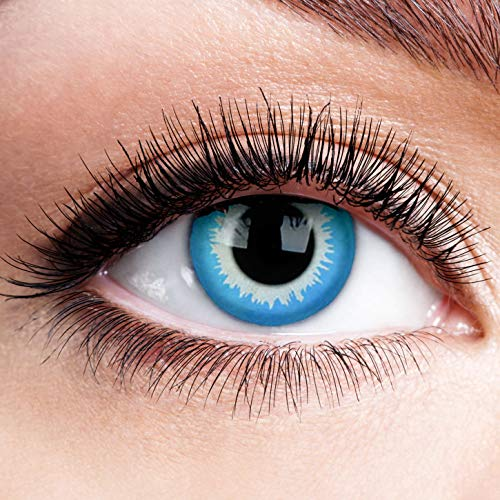 Farbige Kontaktlinsen ohne Stärke Blue Elf Blau Motiv-Linsen Halloween Karneval Fasching Cosplay Anime Manga Blaue Augen Farbig Eye Blue Devil Eis Hexe Engel Vampir Kawaii