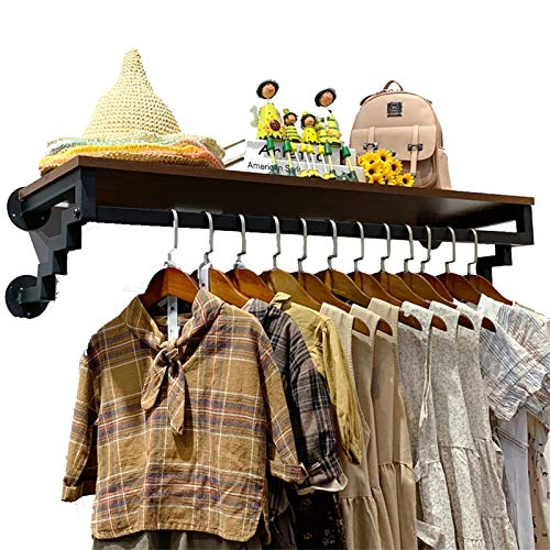 YAN FEI Vintage  Abiti da Studio Heavy Duty Scatole per stoccaggio Abbigliamento da Parete Abbigliamento Rodswith Shelf Hanging Armadio 31/39 / 47 Pollici Appendiabiti Heavy Duty (Size : 80X30X24CM)