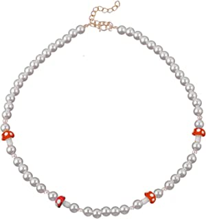Handmade Cute Pearl Chain Charm Pendant Colorful Beads Mushroom Choker Necklace for Women Girls Sweet Funny Cartoon Jewelr...