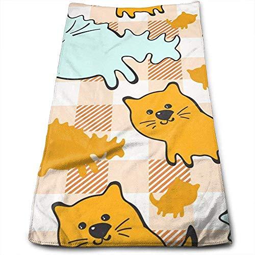Bert-Collins Towel Modèle sans Couture avec des Chats Mignons (2) Serviette de Toilette au Motif de personnalité Amusante Fibres superfines Serviettes de Gymnastique Douces et Super absorbantes