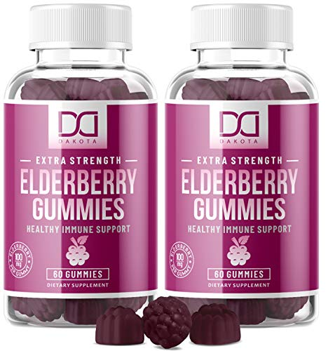 Elderberry Gummies with Zinc, Vitamin C for Adults, Kids for Immune Support Booster Supplement - Sambucus Black Elderberry Extract - Top Alternative to Capsules, Syrup, Pills, Tea (2 Pack)