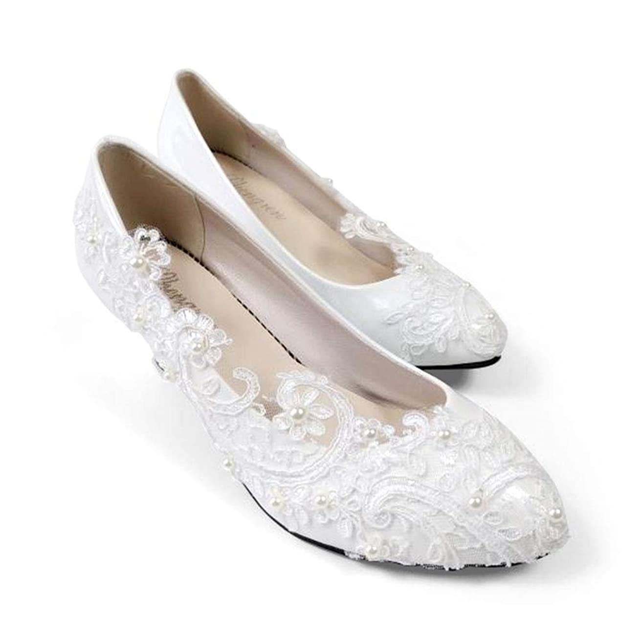 """Bridal Wedding Shoes Closed Toe Dress Pumps Stiletto Heel with Stitching Lace,2.2"""""""
