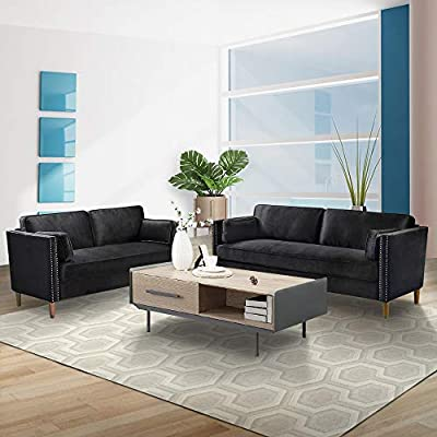 LinkRomat 2 Pieces Living Room Sofa Loveseat Set 2 Pcs Morden Style Living Room Furniture Set Couch Loveseat Couch Home Furniture Sofas