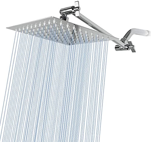 Kalbinuo High Pressure Large Stainless Steel Square Rain ShowerHead Waterfall Full Body Coverage,Easy to Clean and Install,8inch