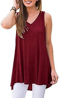 95e476cc3f Akihoo Women's Summer Sleeveless V-Neck Hi-Low Hem T-Shirt Tunic Tops
